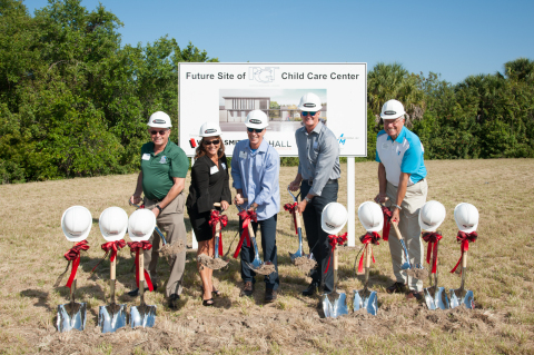 City of Venice Mayor John Holic, PGT Innovations' Debbie LaPinska, Rod Hershberger, and Jeff Jackson, and SKY Family YMCA's Ken Modzelewski at the groundbreaking event for PGT's Child Care Center on Friday, April 21, 2017. (Photo: Business Wire)