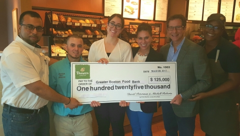 Photo from left to right Rachid Guerrab, GM, Panera Bread South Bay, Christian Delrio, Shift Manager, Panera Bread South Bay, Melanie Gordon, Greater Boston Food Bank, Sarah Polodsky, Greater Boston Food Bank, Mitch Roberts, PR Management, Stephanie Williams, Panera Bread South Bay (Photo: Business Wire)