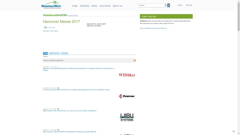 Hannover Messe 2017 News and Digital Content From Business Wire Members Available Online At Tradeshownews.com. (Photo: Business Wire)