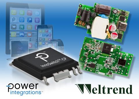 Power Integrations与伟诠电子联合推出适合智能移动设备的18 W USB PD快速充电器参考设计 (照片:美国商业资讯)
