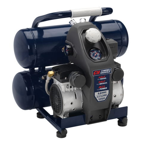 Delivering the power needed to complete common air compressor applications while providing the quiet operation to work virtually anywhere, the new Lightweight 4.6 Gallon Quiet Compressor from Campbell Hausfeld offers lighter weight, reduced sound output, and much longer product life than conventional air compressors. (Photo: Business Wire)