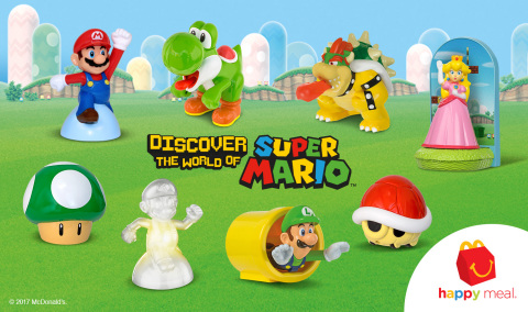 Nintendo fans will want to collect each of the eight toys, which include Mario, Luigi, Princess Peach, Bowser, Yoshi, Invincible Mario, a Red Koopa Shell and 1-Up Mushroom. Each one of the toys has a special function, like a translucent Mario that lights up in different colors. (Graphic: Business Wire)