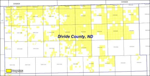 Resource Energy Acreage Position in Divide County, ND (Graphic: Business Wire)