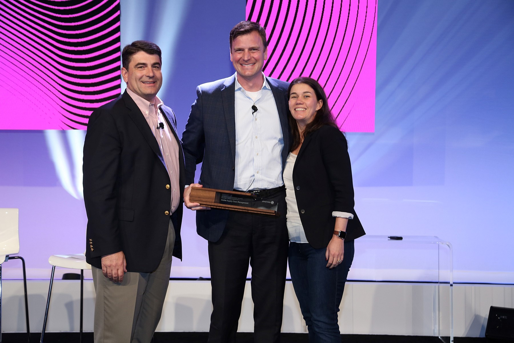 VSCM receives 2017 Retail Revolution Award from Pitney Bowes. (From left Gregg Zegras, Pitney Bowes, Casey Adams, VSCM and Lila Snyder, Pitney Bowes) (Photo: Business Wire)