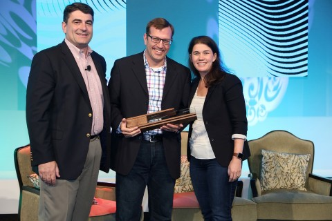 eBay receives 2017 Retail Revolution Award from Pitney Bowes. (From left Gregg Zegras, Pitney Bowes, Jonathan Haney, eBay and Lila Snyder, Pitney Bowes) (Photo: Business Wire)