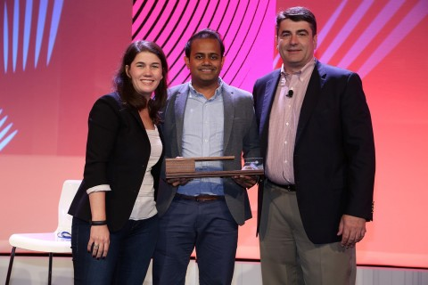 Harrods receives 2017 Retail Revolution Award from Pitney Bowes. (From left Lila Snyder, Pitney Bowes, Mitul Shah, Harrods, and Gregg Zegras, Pitney Bowes) (Photo: Business Wire)