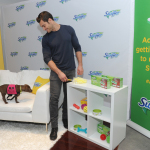 Instagram's favorite pet vet, Dr. Evan Antin, spends the day with Swiffer helping new pet owners nail the adulting moments of pet parenthood with pet-friendly solutions for creating a clean and safe home, Wednesday, April 26, 2017, in New York. His puppy companion is an adoptable pup from Bideawee Animal Shelter. (Photo by Diane Bondareff/Invision for Swiffer/AP Images)