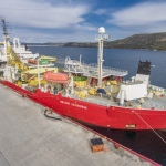 Nexans' cable laying vessel, the Skagerrak, recently arrived in Canadian waters with the first submarine cable for the Maritime Link Project. This vessel and its highly specialized crew will be instrumental in laying both submarine cables for the Project. (Photo: Business Wire)
