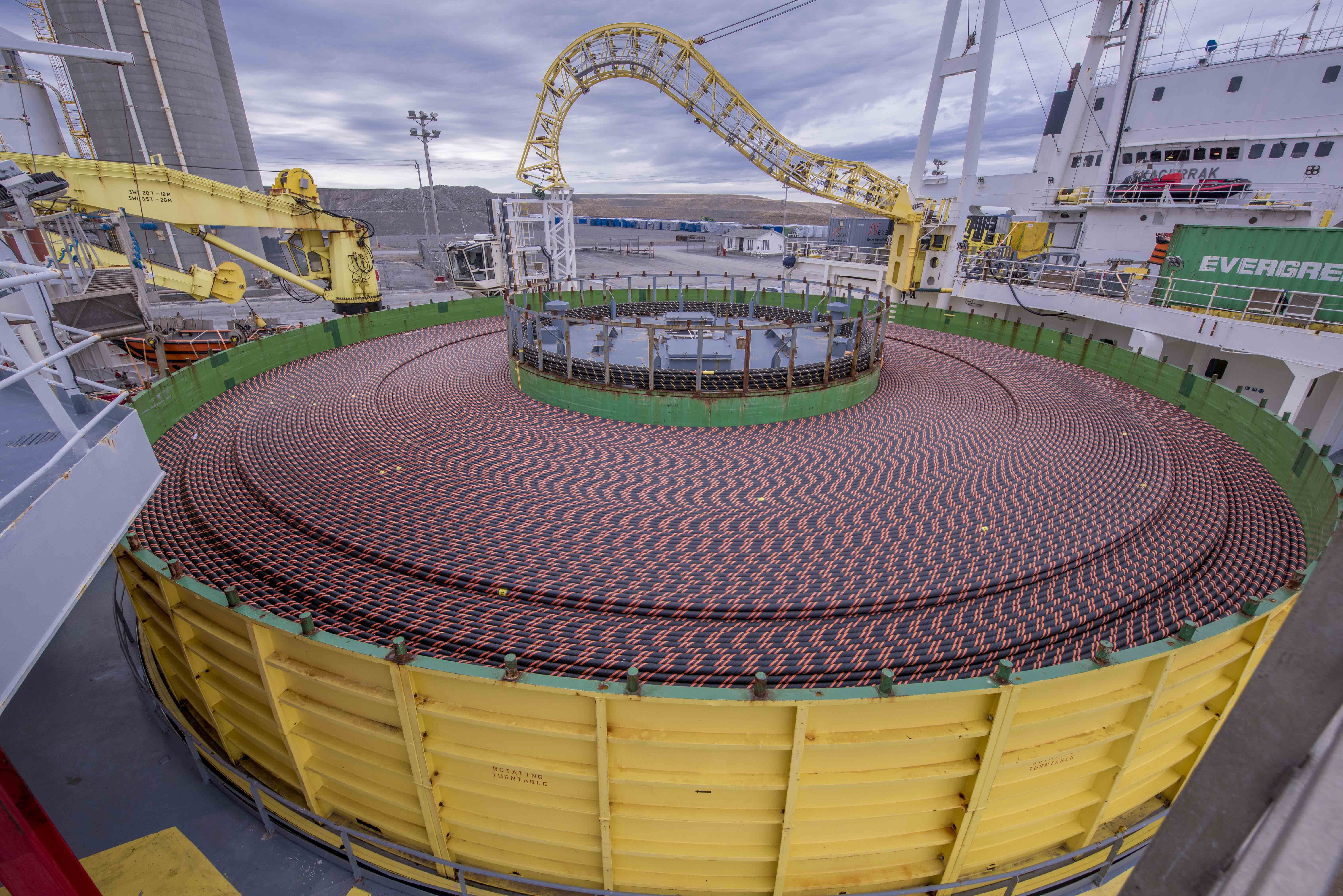 The submarine cable shown is approximately 170 km in length and weighs 5,500 tonnes. Combined, both cables for the Maritime Link Project weigh more than the Eiffel Tower.(Photo: Business Wire)