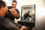 Top NFL prospect, Alabama defensive end Jonathan Allen enjoys a shave with Braun Grooming Kit as he and his family get pampered and prepare for the bright lights at the NFL Draft at the P&G VIP Style Lounge. (Photo: Business Wire)