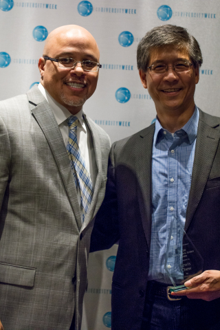 National Diversity Council Founder Dennis Kennedy congratulates Dolby Laboratories CFO Lewis Chew for being one of the top Multicultural Leaders in Technology. Photo Credit: Cassandra Sadikin/Dolby