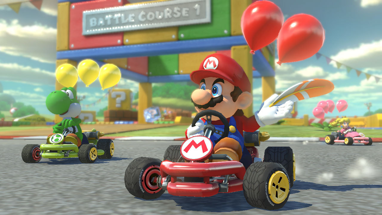 The Mario Kart 8 Deluxe game races to the Nintendo Switch console with more characters, karts and tracks unlocked from the start than any other game in Mario Kart history. (Photo: Business Wire)