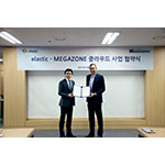 Elastic, the company behind the open source Elastic Stack, X-Pack and Elastic Cloud, and MEGAZONE Corporation, a Korean cloud-specialized IT company, signed a strategic partnership running on Elastic Cloud with the Korean market as its starting point towards the global market. With this partnership agreement signed, MEGAZONE will be the sole partner in the Korea region for deploying Elastic's new product, Elastic Cloud Enterprise. Max Lee, CSO of MEGAZONE Corporation and Aaron Katz, Chief Revenue Officer of Elastic (From left). (Photo: Business Wire)