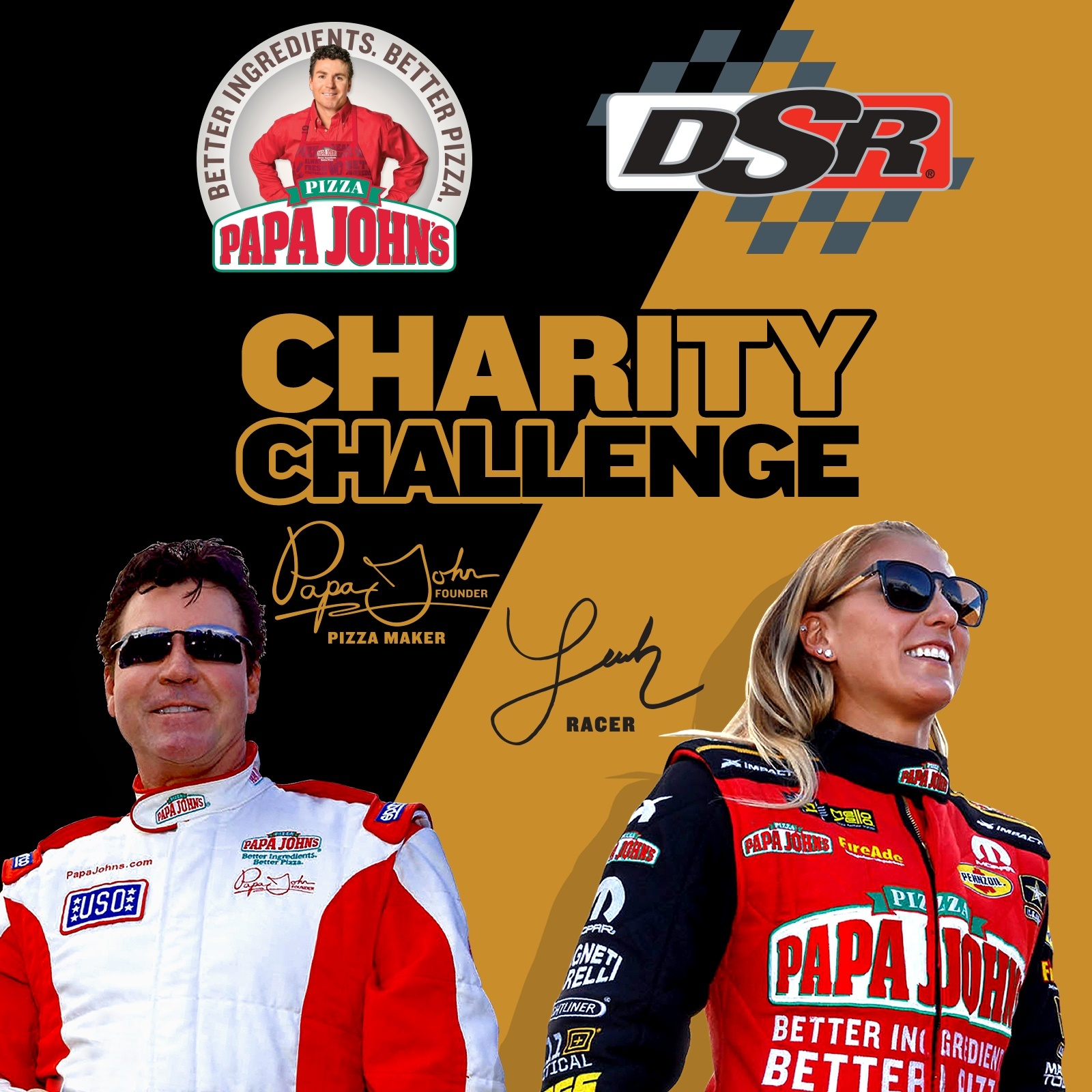 """""""Papa John,"""" the Founder, Chairman and CEO of Papa John's Pizza and Leah Pritchett, winner of three 2017 NHRA Top Fuel titles, will face off in their second Charity Challenge this season on Saturday, April 29, at the NHRA Four-Wide Nationals in Charlotte. (Photo: Business Wire)"""