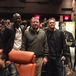 """L-r Djimon Hounsou, Guy Ritchie and Charlie Hunnam surprise NYC audience at King for a Day advance screening of """"King Arthur: Legend of the Sword,"""" in theaters May 12 (Photo: Business Wire)"""