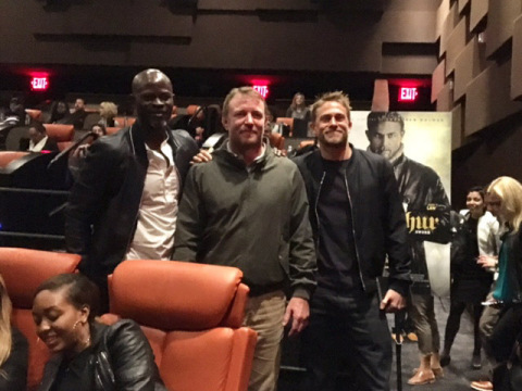 L-r Djimon Hounsou, Guy Ritchie and Charlie Hunnam surprise NYC audience at King for a Day advance s ...