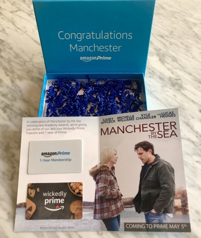 Amazon's Academy Award winning film, Manchester by the Sea, arrives on Prime for members to stream on Friday, May 5. To celebrate the film, Amazon will give every home in the town of Manchester-by-the-Sea, MA one year of Amazon Prime and a 3-pack of Wickedly Prime Popcorn. (Photo: Business Wire)