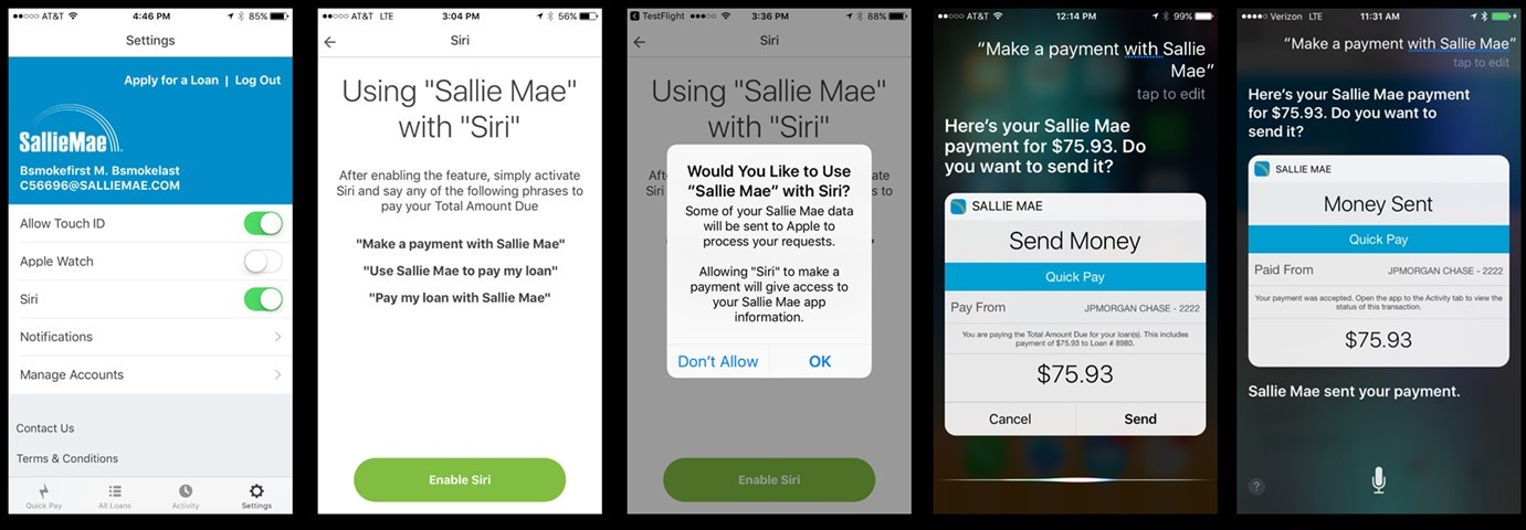 Now Sallie Mae customers with iPhones can have Siri make their student loan payments. Sallie Mae is the first — and only — major student lender to offer this option. (Graphic: Business Wire)