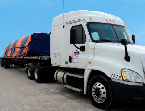 The Schilli Companies truck - Schilli's asset-based fleet includes late-model trucks and open deck specialized lightweight trailers. (Photo: Business Wire)