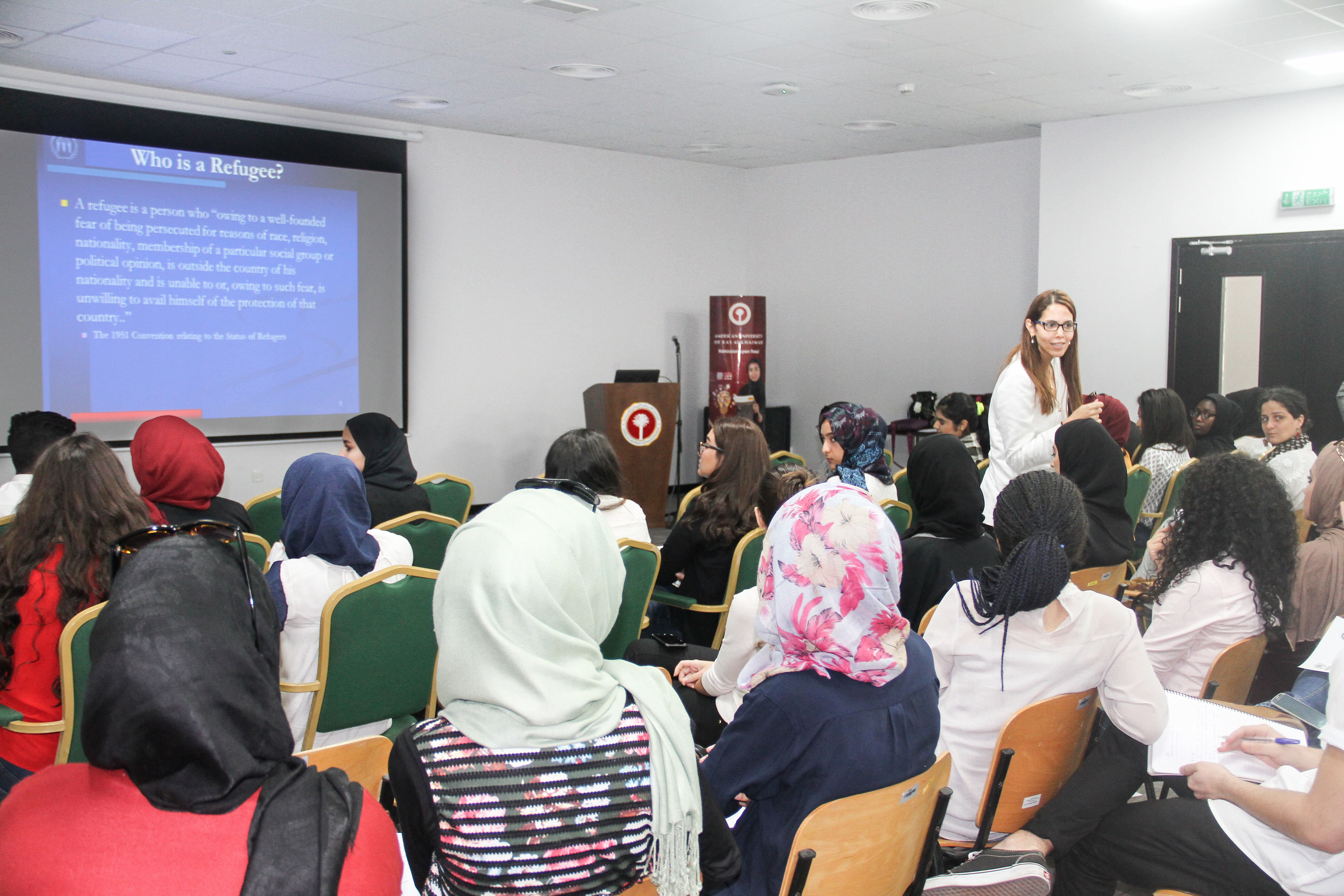 Ameera Azzam (UNHCR) interacts with AURAK students (Photo: ME NewsWire)