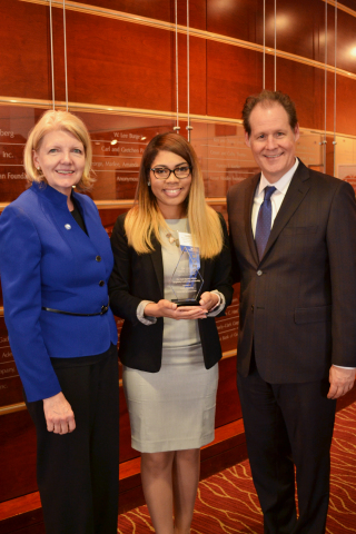 Pictured (left to right): Dr. Debra F. Cannon, director and associate professor of Georgia State University School of Hospitality, Halle Neeley, recipient of the 2017 Hyatt Regency Atlanta Hospitality Scholarship, and Peter McMahon, general manager of Hyatt Regency Atlanta. (Photo: Business Wire)
