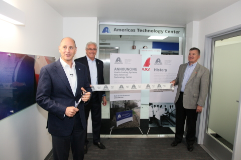 From left to right: Axalta's Barry Snyder, Senior Vice President and Chief Technology Officer, Steven R. Markevich, Executive Vice President and President, Transportation Coatings and Greater China and Mike Carr, Vice President and President, North America addressed workers, media and visitors on Tuesday, May 2, 2017 at a ribbon-cutting event to open Axalta's Americas Technology Center in Mount Clemens, Michigan. (Photo: Axalta)
