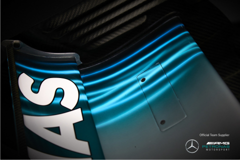 Axalta's Spies Hecker Hi-TEC Performance System is used on the Mercedes-AMG Petronas race cars and provides the unique formulations developed for the current color scheme which renders an almost electrified appearance. (Photo: Axalta)