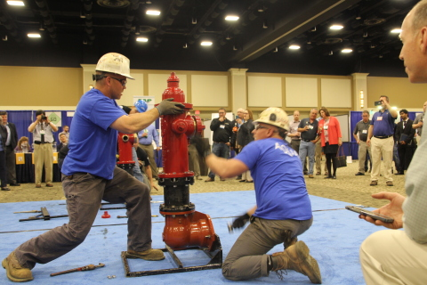 Aqua employees Eastern Division Maintenance Leader John Christiansen and Maintenance Foreman Dennis Wiley during the competition. (Photo: Business Wire)