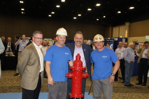 Aqua Pennsylvania Vice President of Distribution Mike Fili, Eastern Division Maintenance Leader John Christiansen, Aqua Pennsylvania President Marc Lucca and Eastern Division Maintenance Foreman Dennis Wiley celebrate Aqua's win of the Pennsylvania Section of the American Water Works Association's Hydrant Hysteria contest. (Photo: Business Wire)