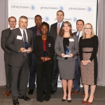 Pitney Bowes honors leading print and mail organizations with its 2017 Brilliance Awards. From left: Grant Miller, Pitney Bowes; Kenny Burger, Mele Printing; Carlton McGrone, Mississippi Department of Revenue; Angeline Cunningham, Hillsborough County Supervisor of Elections Office; Jason Dies, Pitney Bowes; Jennifer Wentworth, Mississippi Department of Revenue; Bruce Gresham, Pitney Bowes; Debbie Pfeiffer, Pitney Bowes. (Photo: Business Wire)