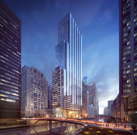 110 North Wacker Drive, Dusk; image ©Goettsch Partners