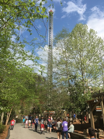 Dollywood's Drop Line, which opens to guests on Saturday, May 6, rises more than 20 stories above the trees in the park's Timber Canyon area. The new drop tower sits adjacent to Thunderhead. Whistle Punk Chaser, a new junior coaster, opens next to Drop Line later this season. (Photo: Business Wire)