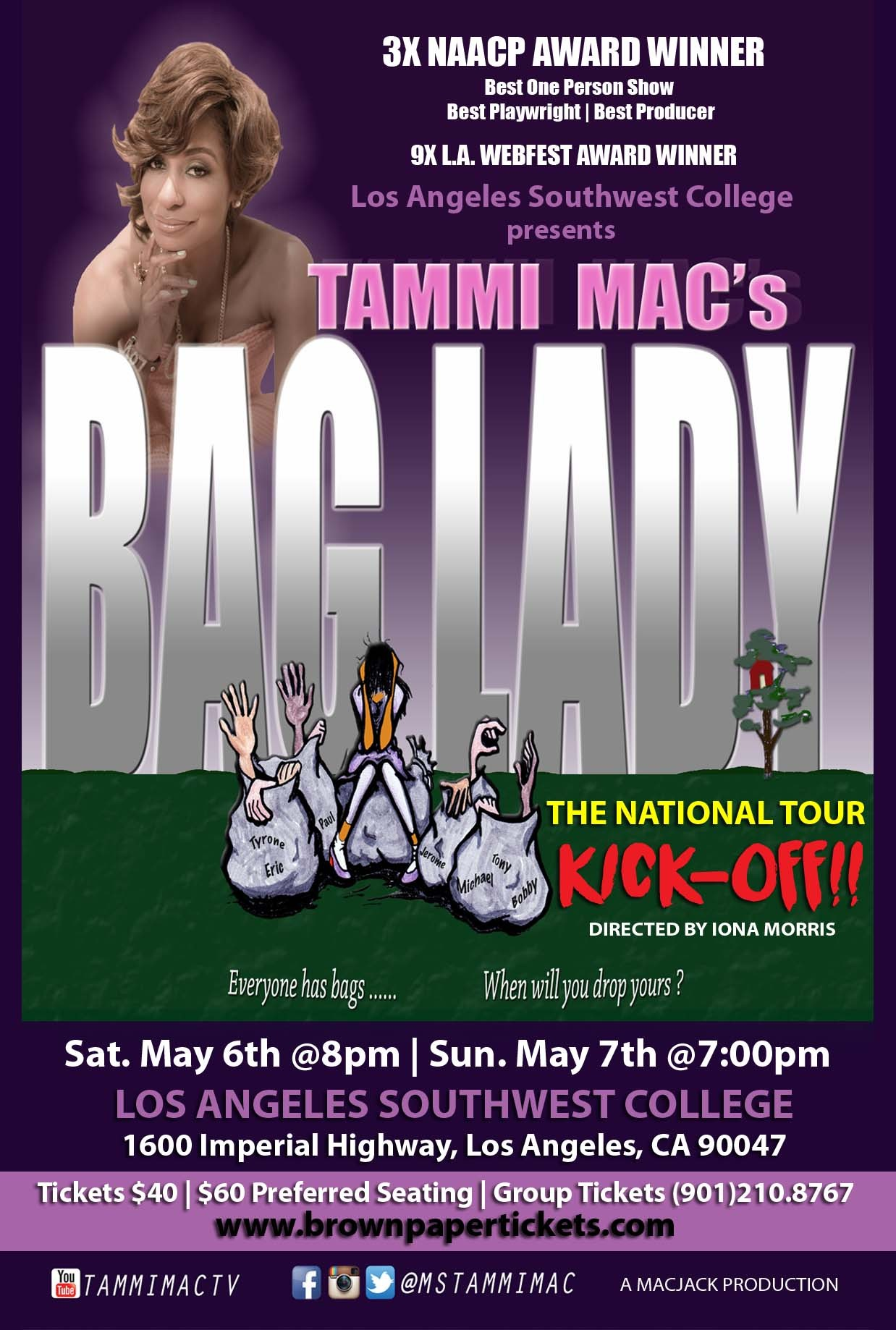 """AHF Sponsors Los Angeles Kickoff for National Tour of Tammi Mac's Award-Winning One-Woman Play """"Bag Lady"""" (Graphic: Business Wire)"""