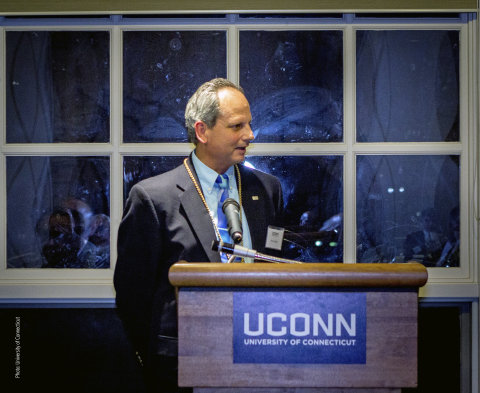 Brian Leshko, HDR bridges and structures inspection program leader, speaks at his induction to the University of Connecticut's Academy of Distinguished Engineers. (Photo: University of Connecticut)