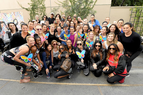 Khloe Kardashian (front row, center) lent her support to the Make March Matter campaign by hosting a ...