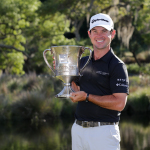 Brian Harman holding the trophy after a thrilling finish at the Wells Fargo Championship. Credit: Getty Images