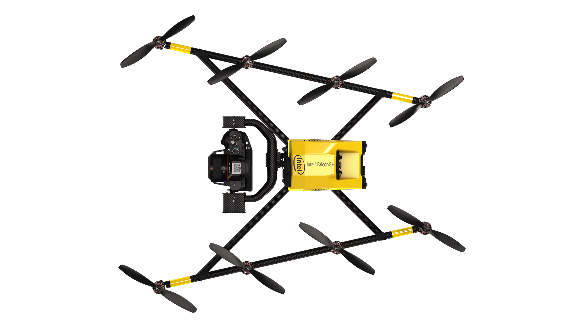 The Intel Falcon 8+ drone is an advanced, unmanned aerial vehicle (UAV) designed for professional use. It delivers the best performance and weight-to-payload ratio on the market, the highest stability in harsh conditions, and best-in-class safety. (Credit: Intel Corporation)