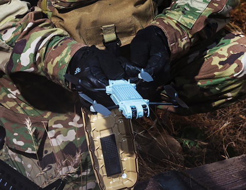 AeroVironment's tiny new Snipe drone can be worn on an operator's uniform for quick access and launc ...