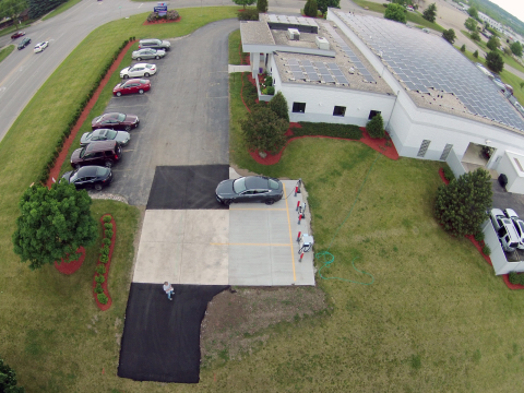 Solar panels help power more than 50 percent of Marshall Auto Body's annual electricity needs and comprise 10,000 square feet of its roof. (Photo: Axalta)