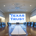 Texas Trust Credit Union's executive boardroom at its new headquarters includes a nine-screen video wall. (Photo: Business Wire)