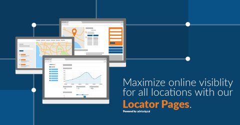 Advice Locator Pages allows businesses and brands with multiple locations to easily deploy a fully-integrated store locator with SEO-optimized location landing pages – simply by adding a snippet of code to their website. Request a demo at https://www.advicelocal.com/products/locator-pages/. (Graphic: Business Wire)