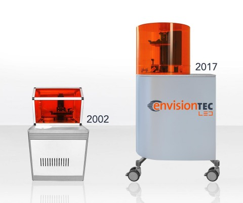 EnvisionTEC is launching its Perfactory 4 powered by custom LEDs at RAPID + TCT. The original Perfactory, a desktop 3D printer model, launched DLP technology and the company 15 years ago. (Photo: Business Wire)