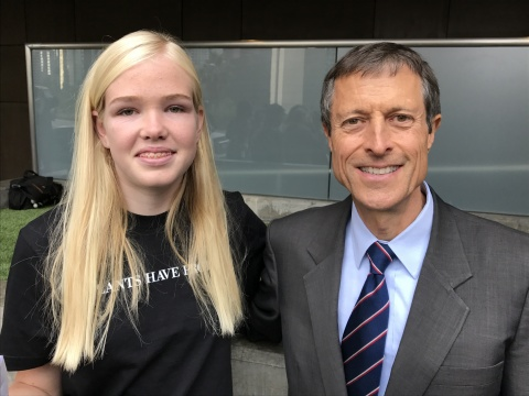 Neal Barnard, M.D., F.A.C.C., and Lila Copeland speak in favor of plant-based vegan menu options at the Los Angeles Unified School District board meeting on May 9, 2017. (Photo: Business Wire)
