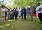 U.S. Representative Bennie Thompson joined local dignitaries, BancorpSouth Bank, the city of Vicksburg and FHLB Dallas at a home dedication ceremony today in the Marcus Bottom neighborhood of Vicksburg, Mississippi. A $180,000 Affordable Housing Program grant helped repair 25 homes in the neighborhood. (Photo: Business Wire)