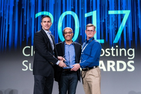 Datapipe's David Lucky and Timothy Campbell accept the Most Innovative Data Platform Offering Award presented by Microsoft's Aziz Benmalek at the Microsoft Cloud & Hosting Summit. (Photo: Business Wire)