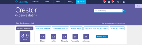 SERMO Unveils First Global Physician-to-Physician Drug Ratings Tool (Graphic: Business Wire)