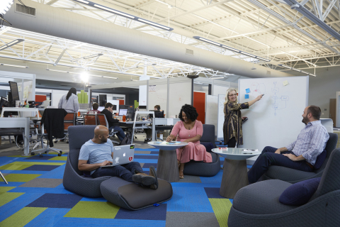 Booz Allen's newly renovated state-of-the-art, 75,000 square-foot facility in Charleston, S.C., offers a tech-forward, open and multipurpose floor plan designed to foster collaboration on mission-critical projects and deliver new levels of innovation for clients. (Credit: Booz Allen)