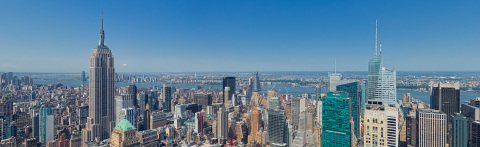 A SkyPan aerial view from the planned 47th floor of a prestigious Midtown Manhattan project by developer SL Green is generating interest in brokers and real estate investors worldwide. © 2017 SkyPan International