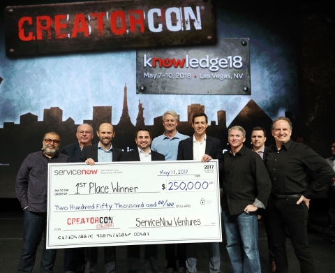 "ServiceNow today announced the winner and runners-up from more than 225 entries to CreatorCon Challenge, a global competition for entrepreneurs to create the most high-impact, services-rich business applications on the ServiceNow® platform. ""Legends of Tech"" judges, Om Malik, B.J. Lackland and David Webb selected the first-place winner Factor5, second-place winner ClearSkye, and third-place winner Help-Full. (From left to right: Om Malik; David Webb; Jon Whitmee of Factor5; Brian Clark of Factor5; John Donahoe, CEO of ServiceNow; Dominic Phillips, VP of ServiceNow Ventures; Pat Casey, SVP DevOps of ServiceNow; B.J. Lackland and Allan Leinwand, CTO of ServiceNow). (Photo: Business Wire)"