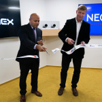 CEMEX CIO Arun Aggarwal and NEORIS CEO Martin Mendez at the office inauguration ceremony in Prague, Czech Republic. (Photo: Business Wire)